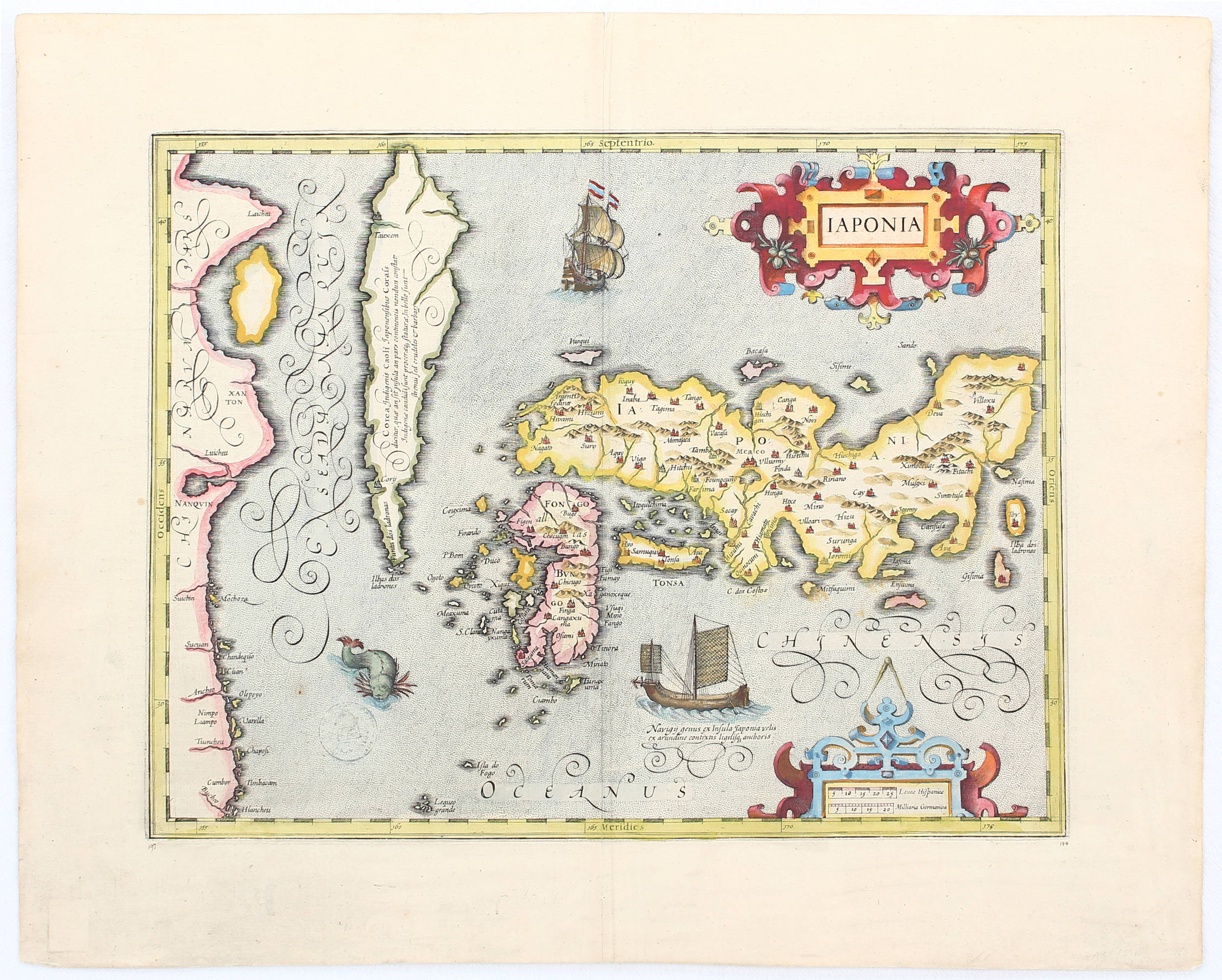 Iaponia, anno 1619, Mercator/Hondius, map, coloured