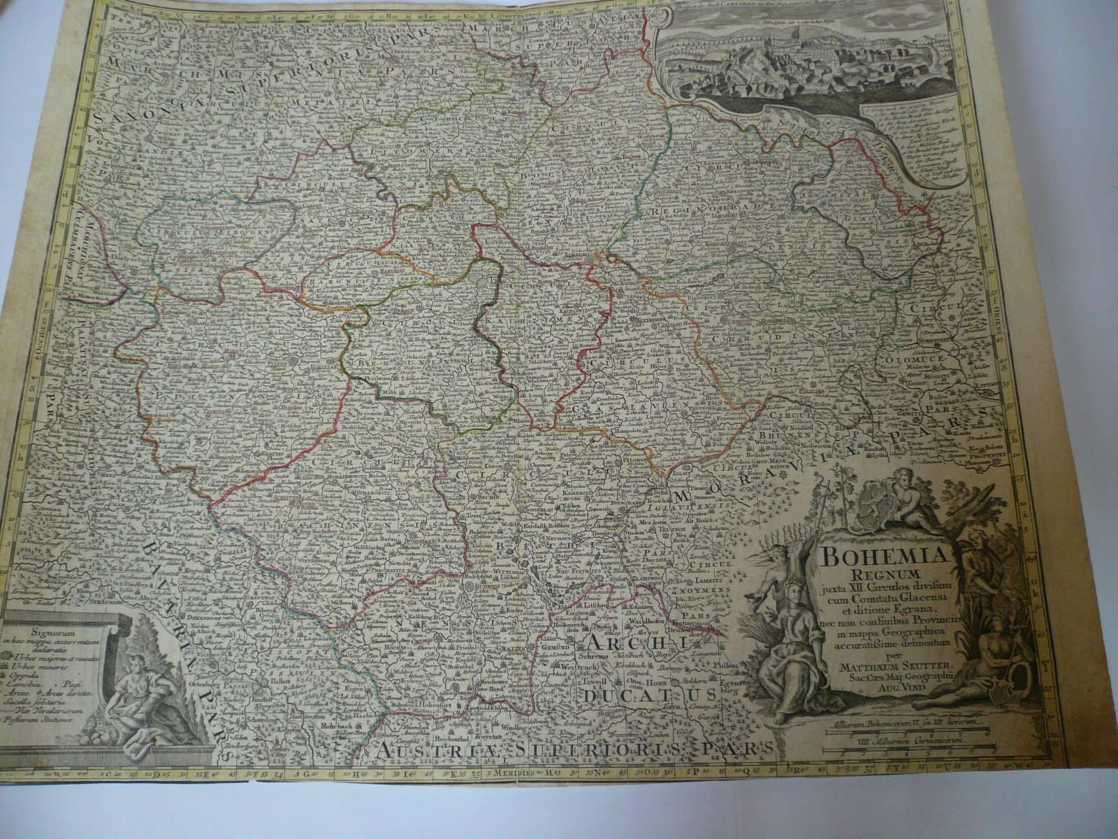 Bohemia Regnum, anno 1740, map Seutter Matthäus, old colours, pr